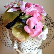 Vintage Pink and Black Floral Hat