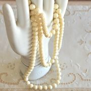 Vintage Acrylic Carved Bead Necklace
